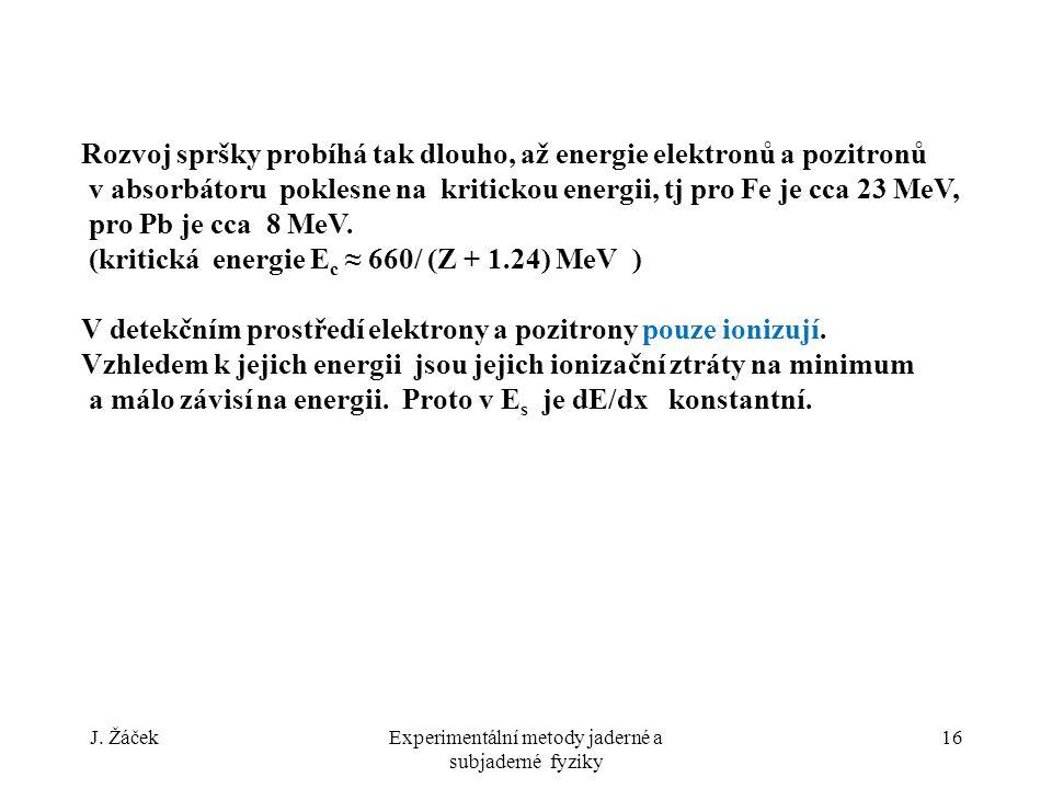 J. ŽáčekExperimentální metody jaderné a subjaderné fyziky 16 Rozvoj spršky probíhá tak dlouho, až energie elektronů a pozitronů v absorbátoru poklesne