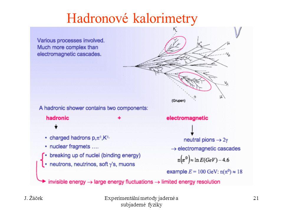 J. ŽáčekExperimentální metody jaderné a subjaderné fyziky 21 Hadronové kalorimetry