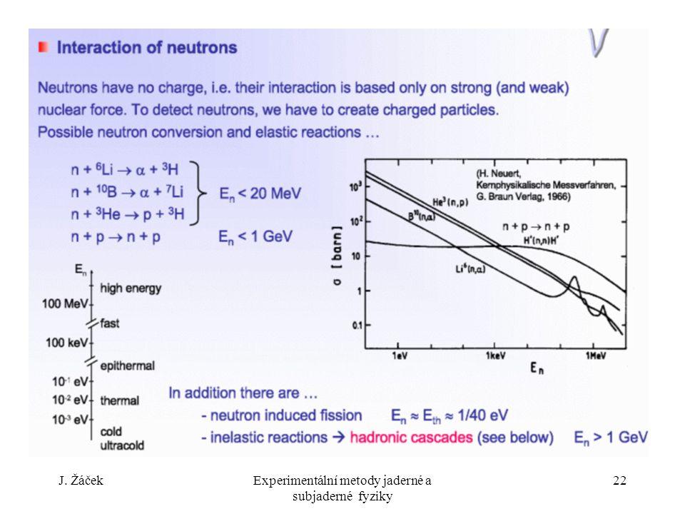 J. ŽáčekExperimentální metody jaderné a subjaderné fyziky 22