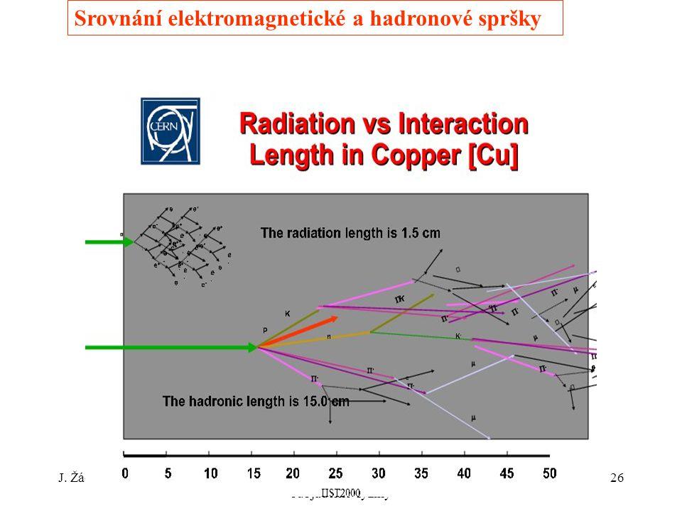 J. ŽáčekExperimentální metody jaderné a subjaderné fyziky 26 Srovnání elektromagnetické a hadronové spršky