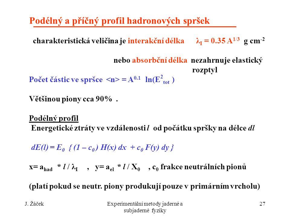 J. ŽáčekExperimentální metody jaderné a subjaderné fyziky 27 Podélný a příčný profil hadronových spršek charakteristická veličina je interakční délka