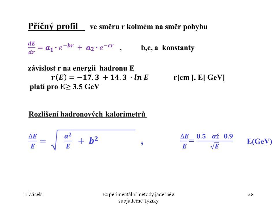 J. ŽáčekExperimentální metody jaderné a subjaderné fyziky 28