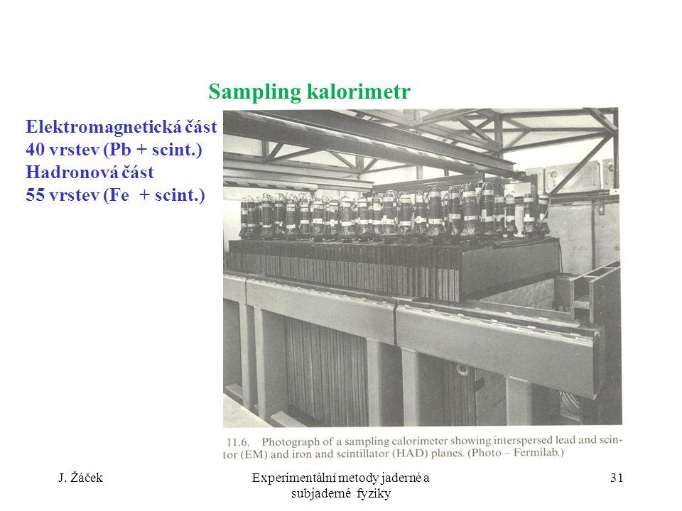 J. ŽáčekExperimentální metody jaderné a subjaderné fyziky 31 Elektromagnetická část 40 vrstev (Pb + scint.) Hadronová část 55 vrstev (Fe + scint.) Sam