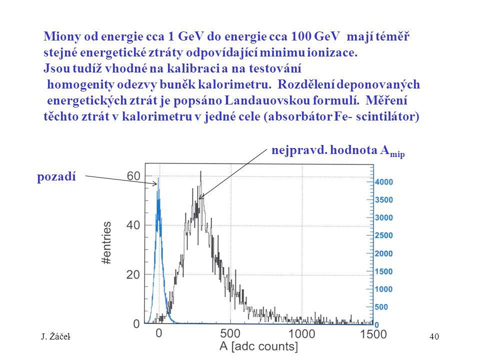 J. ŽáčekExperimentální metody jaderné a subjaderné fyziky 40 Miony od energie cca 1 GeV do energie cca 100 GeV mají téměř stejné energetické ztráty od