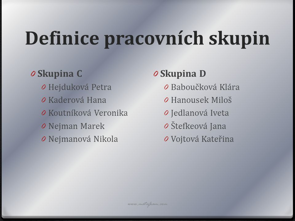 Definice pracovních skupin 0 Skupina C 0 Hejduková Petra 0 Kaderová Hana 0 Koutníková Veronika 0 Nejman Marek 0 Nejmanová Nikola 0 Skupina D 0 Baboučk