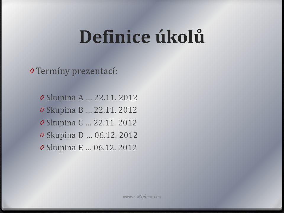 Definice úkolů 0 Termíny prezentací: 0 Skupina A … 22.11. 2012 0 Skupina B … 22.11. 2012 0 Skupina C … 22.11. 2012 0 Skupina D … 06.12. 2012 0 Skupina