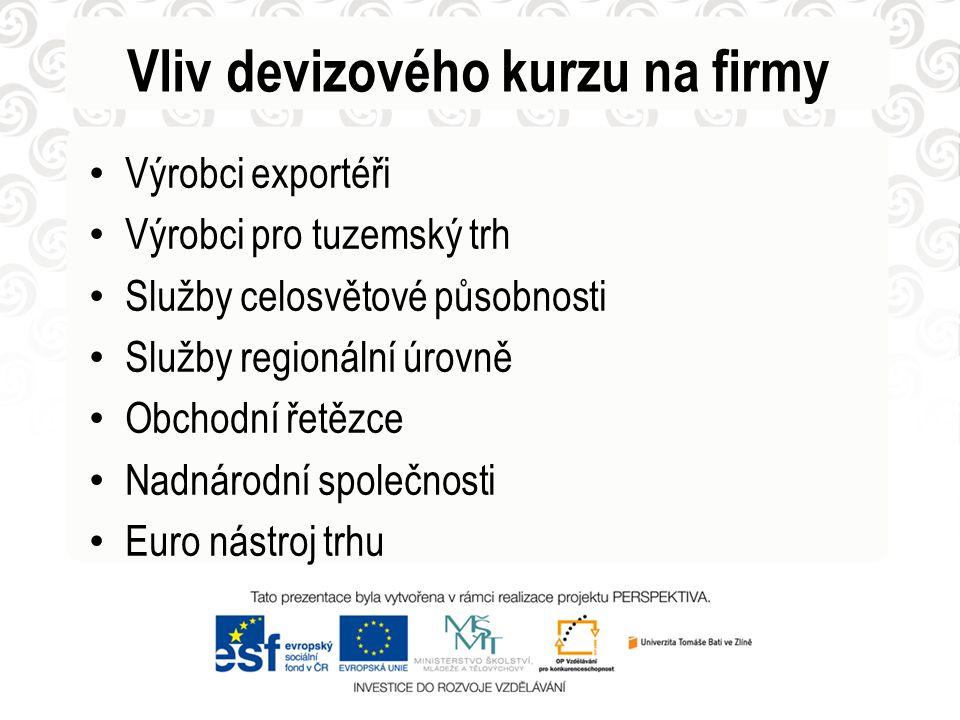 Vliv devizového kurzu na firmy Výrobci exportéři Výrobci pro tuzemský trh Služby celosvětové působnosti Služby regionální úrovně Obchodní řetězce Nadnárodní společnosti Euro nástroj trhu