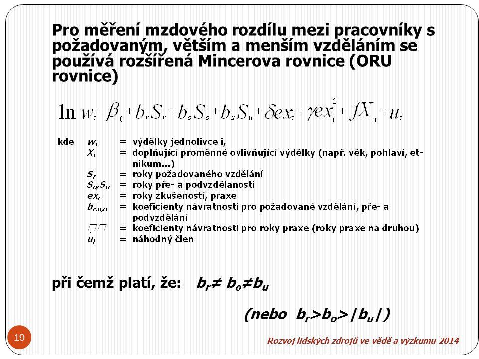 Rozvoj lidských zdroj ů ve v ě d ě a výzkumu 2014 19 Pro měření mzdového rozdílu mezi pracovníky s požadovaným, větším a menším vzděláním se používá rozšířená Mincerova rovnice (ORU rovnice) při čemž platí, že:b r ≠ b o ≠b u (nebo b r >b o >|b u |)