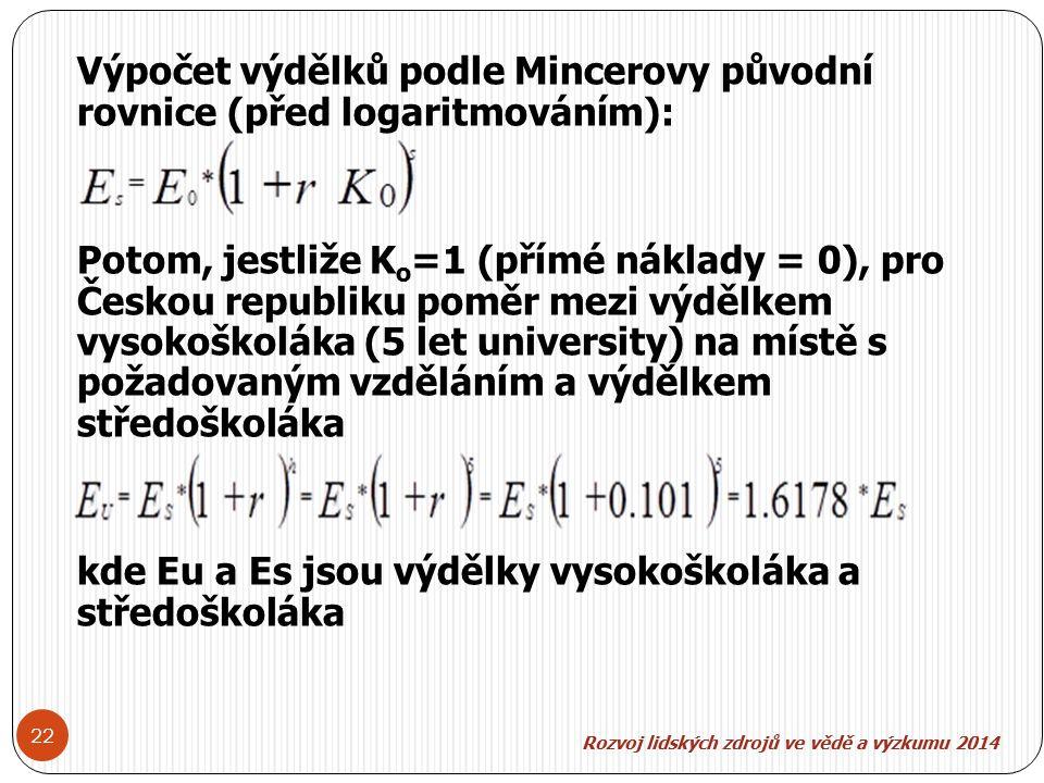 Rozvoj lidských zdroj ů ve v ě d ě a výzkumu 2014 22 Výpočet výdělků podle Mincerovy původní rovnice (před logaritmováním): Potom, jestliže K o =1 (přímé náklady = 0), pro Českou republiku poměr mezi výdělkem vysokoškoláka (5 let university) na místě s požadovaným vzděláním a výdělkem středoškoláka kde Eu a Es jsou výdělky vysokoškoláka a středoškoláka