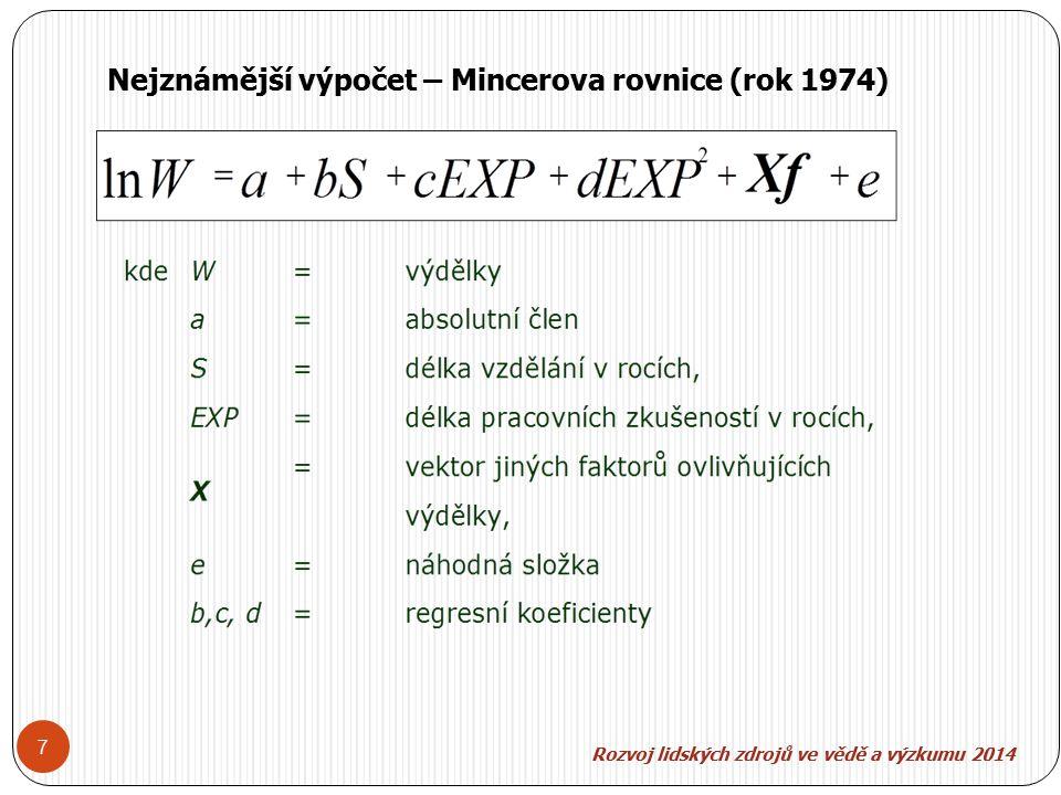 7 Nejznámější výpočet – Mincerova rovnice (rok 1974)