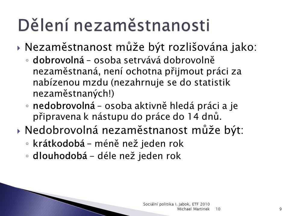 10 Sociální politika I. Jabok, ETF 2010 Michael Martinek30