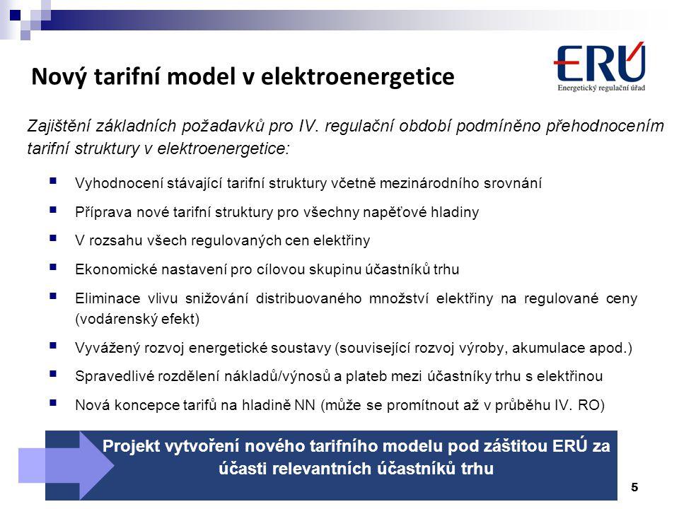 Nový tarifní model v elektroenergetice Zajištění základních požadavků pro IV. regulační období podmíněno přehodnocením tarifní struktury v elektroener