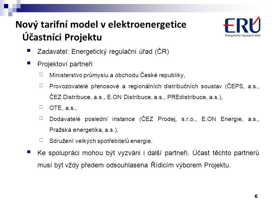 Nový tarifní model v elektroenergetice Účastníci Projektu Zadavatel: Energetický regulační úřad (ČR) Projektoví partneři  Ministerstvo průmyslu a obc