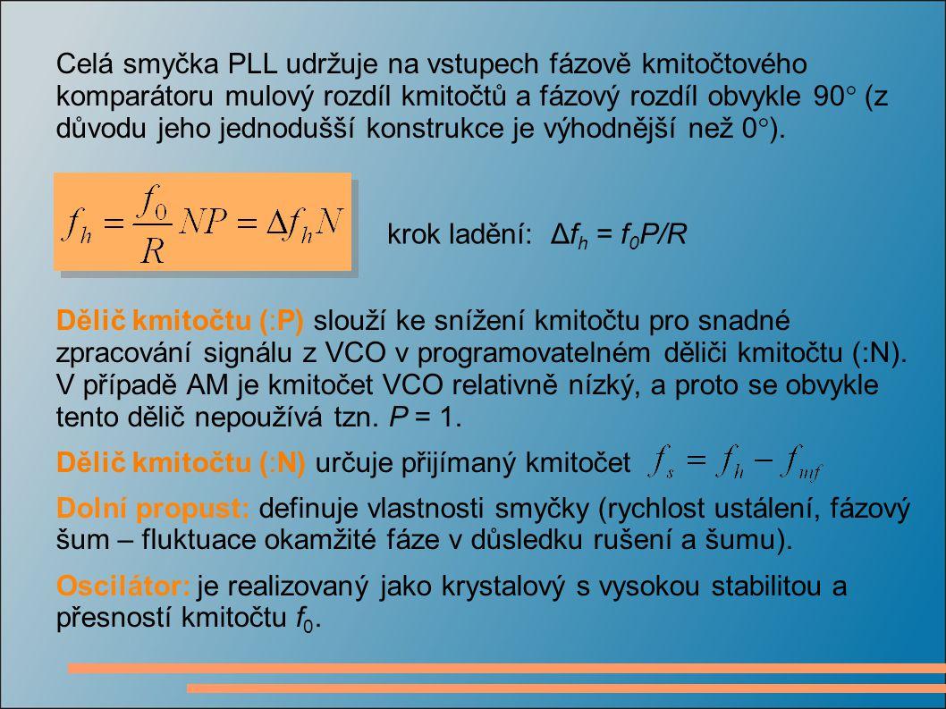 krok ladění: Δf h = f 0 P/R Dělič kmitočtu (:P) slouží ke snížení kmitočtu pro snadné zpracování signálu z VCO v programovatelném děliči kmitočtu (:N)