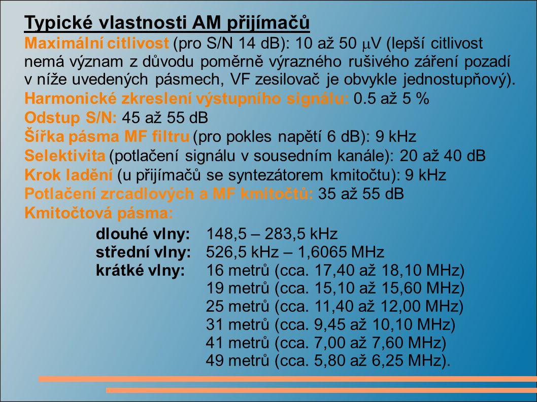 Typické vlastnosti AM přijímačů Maximální citlivost (pro S/N 14 dB): 10 až 50  V (lepší citlivost nemá význam z důvodu poměrně výrazného rušivého zář