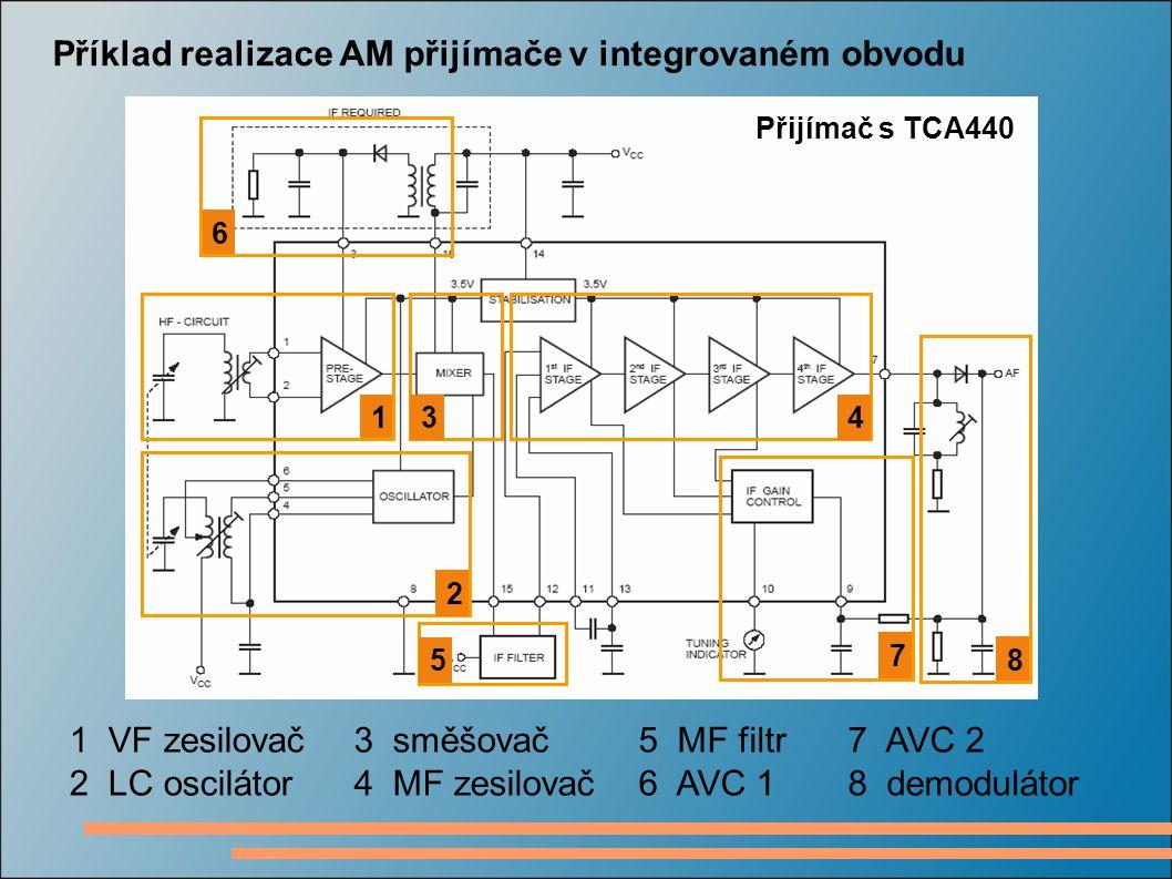 Přijímač s TCA440 Příklad realizace AM přijímače v integrovaném obvodu 1 2 34 5 6 7 8 1 VF zesilovač 2 LC oscilátor 3 směšovač 4 MF zesilovač 5 MF fil