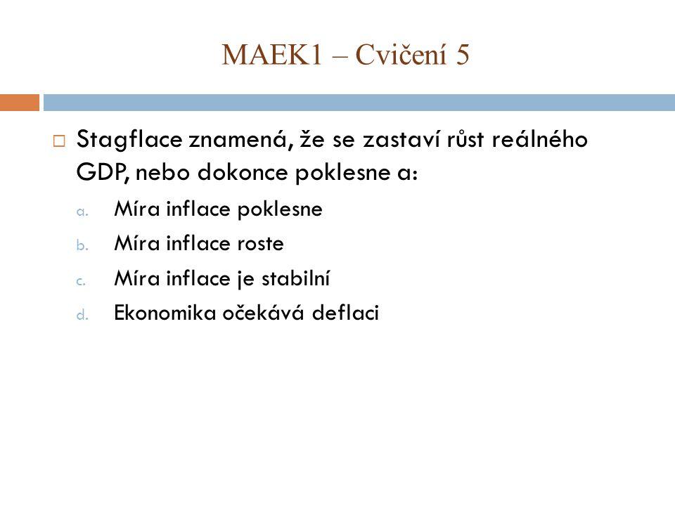  Stagflace znamená, že se zastaví růst reálného GDP, nebo dokonce poklesne a: a.