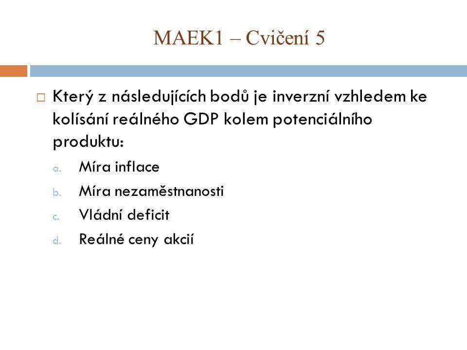  Který z následujících bodů je inverzní vzhledem ke kolísání reálného GDP kolem potenciálního produktu: a.