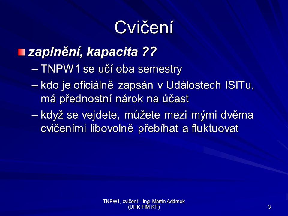 TNPW1, cvičení – Ing. Martin Adámek (UHK-FIM-KIT) 3 Cvičení zaplnění, kapacita .