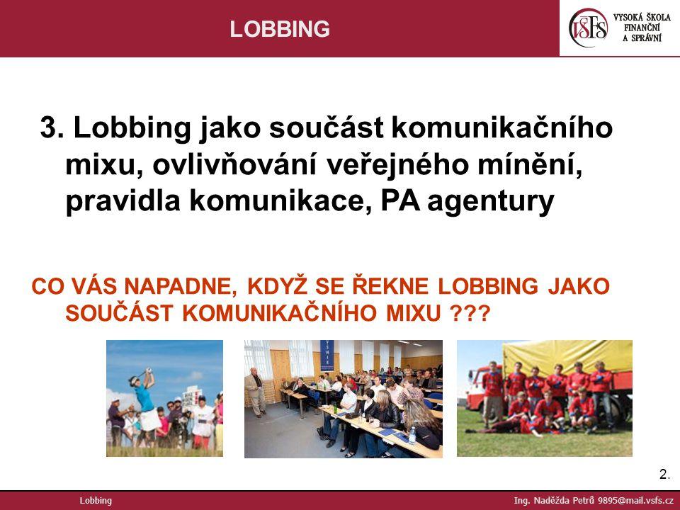 2.2.Lobbing Ing. Naděžda Petrů 9895@mail.vsfs.cz LOBBING 3.