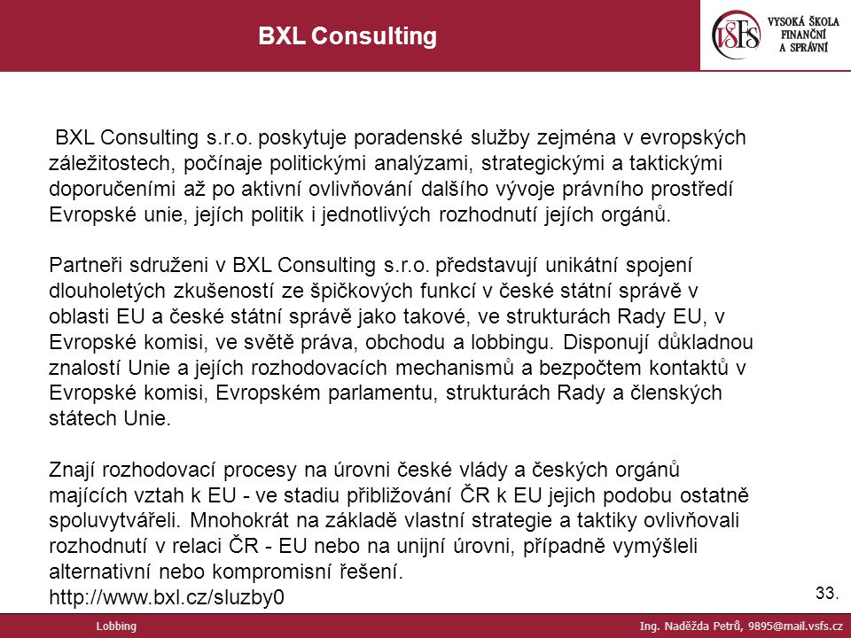 33.BXL Consulting BXL Consulting s.r.o.