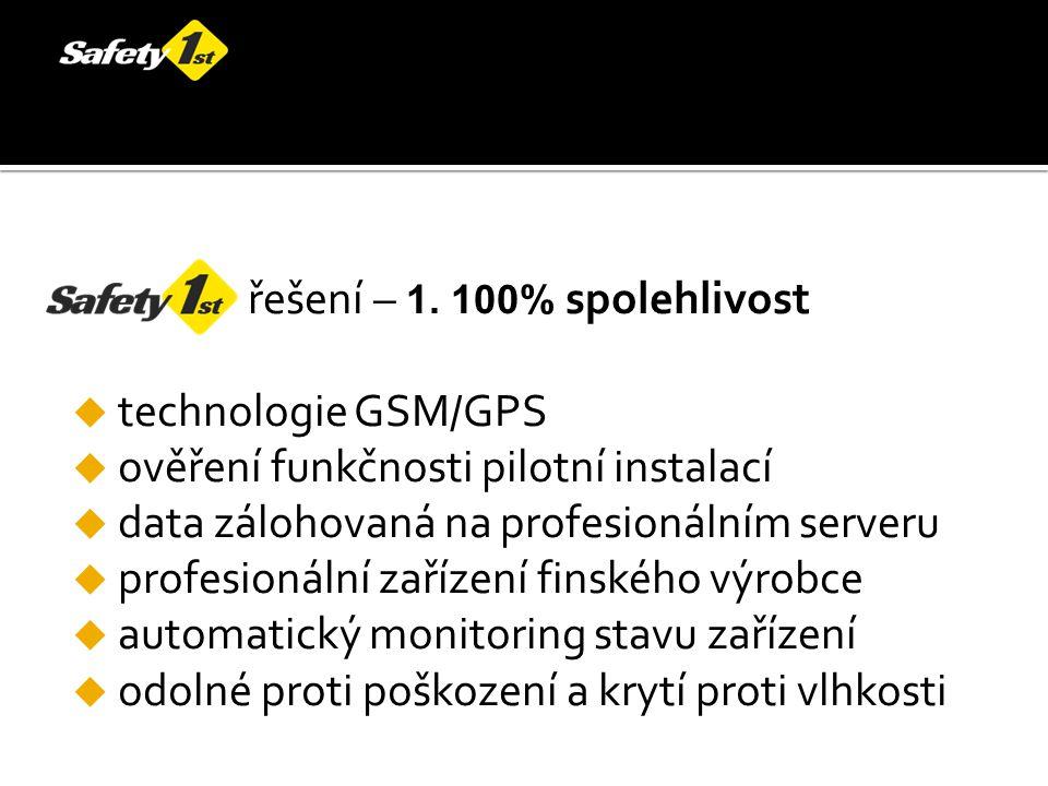 řešení – 1. 100% spolehlivost  technologie GSM/GPS  ověření funkčnosti pilotní instalací  data zálohovaná na profesionálním serveru  profesionální
