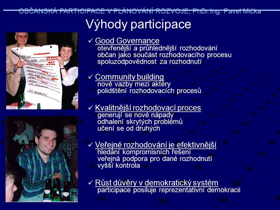 Výhody participace Good Governance otevřenější a průhlednější rozhodování občan jako součást rozhodovacího procesu spoluzodpovědnost za rozhodnutí Com