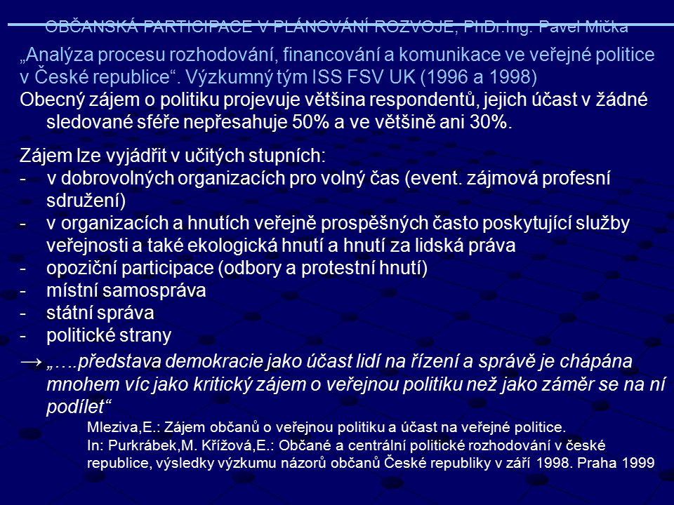 """OBČANSKÁ PARTICIPACE V PLÁNOVÁNÍ ROZVOJE, PhDr.Ing. Pavel Mička """"Analýza procesu rozhodování, financování a komunikace ve veřejné politice v České rep"""