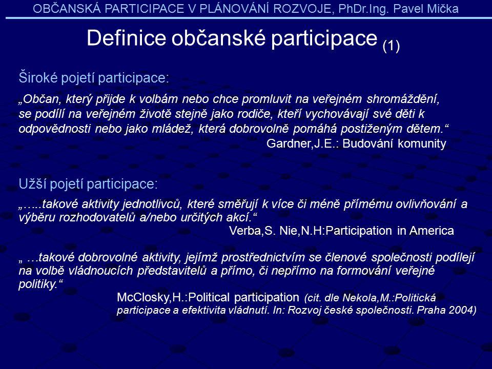 """OBČANSKÁ PARTICIPACE V PLÁNOVÁNÍ ROZVOJE, PhDr.Ing. Pavel Mička Definice občanské participace (1) Široké pojetí participace: """"Občan, který přijde k vo"""