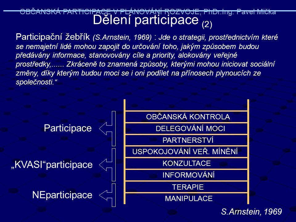 MANIPULACE TERAPIE INFORMOVÁNÍ KONZULTACE USPOKOJOVÁNÍ VEŘ. MÍNĚNÍ PARTNERSTVÍ DELEGOVÁNÍ MOCI OBČANSKÁ KONTROLA Participační žebřík (S.Arnstein, 1969