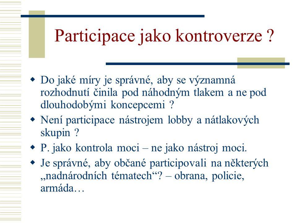 Participace jako kontroverze .