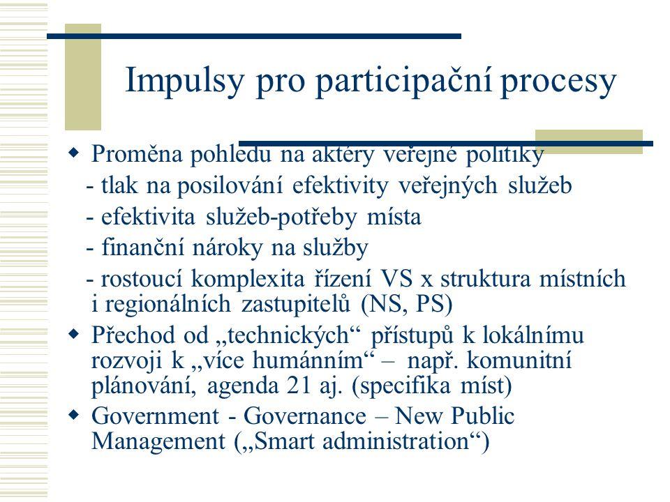 """Impulsy pro participační procesy  Proměna pohledu na aktéry veřejné politiky - tlak na posilování efektivity veřejných služeb - efektivita služeb-potřeby místa - finanční nároky na služby - rostoucí komplexita řízení VS x struktura místních i regionálních zastupitelů (NS, PS)  Přechod od """"technických přístupů k lokálnímu rozvoji k """"více humánním – např."""