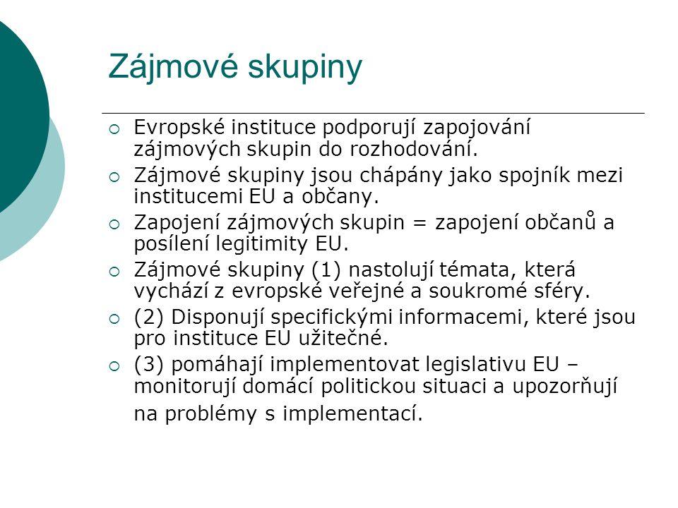 Zájmové skupiny  Evropské instituce podporují zapojování zájmových skupin do rozhodování.