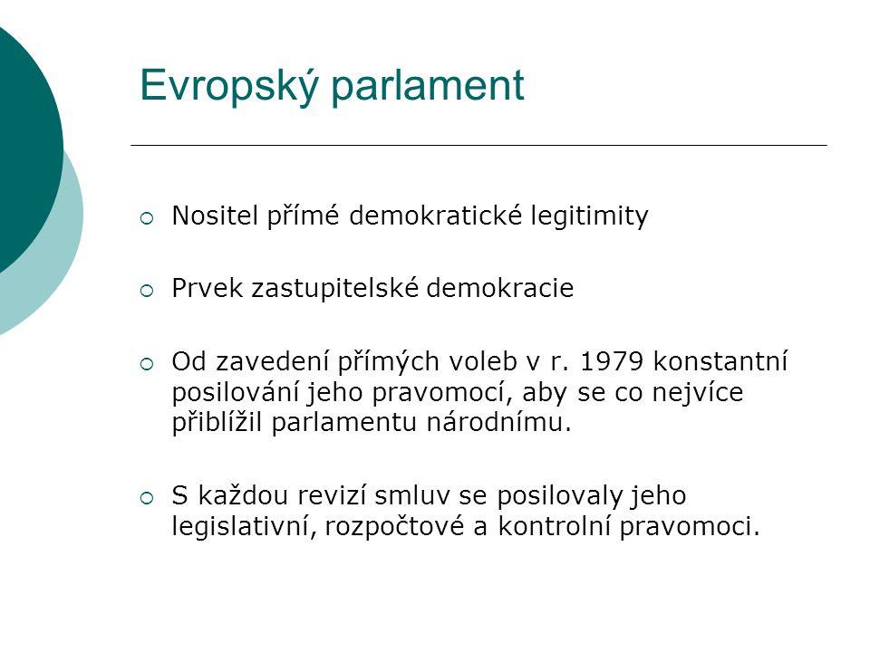 Evropský parlament  Nositel přímé demokratické legitimity  Prvek zastupitelské demokracie  Od zavedení přímých voleb v r.