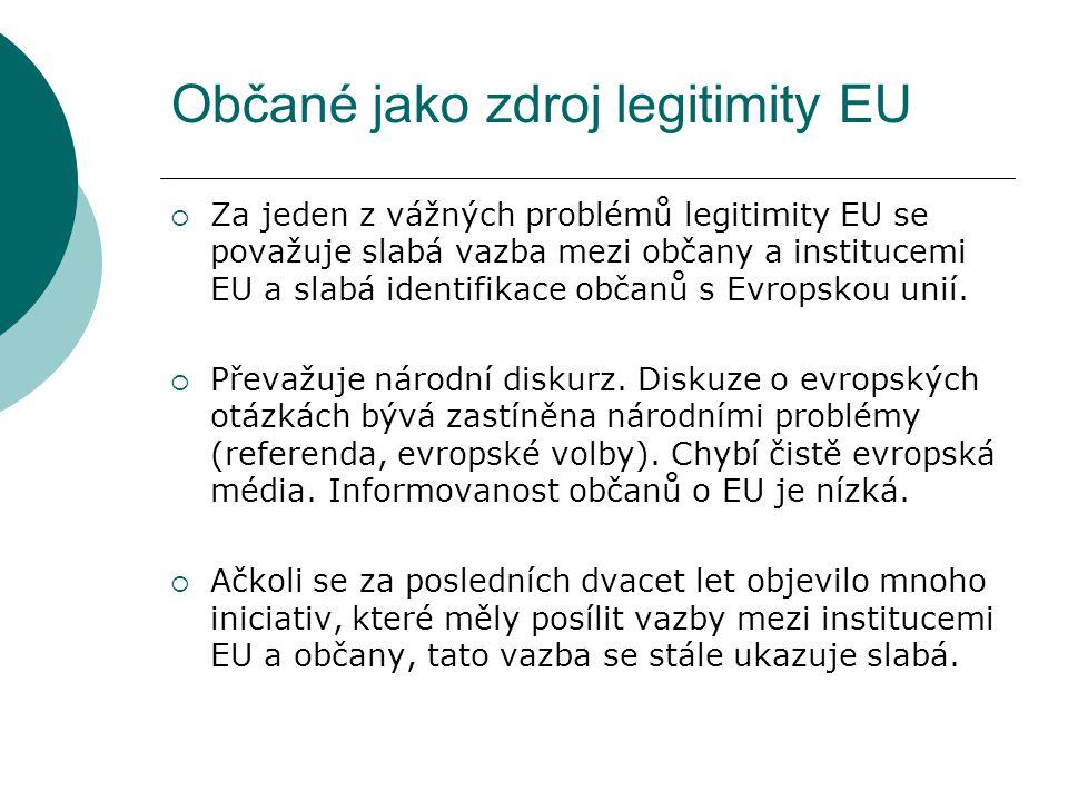 Občané jako zdroj legitimity EU  Za jeden z vážných problémů legitimity EU se považuje slabá vazba mezi občany a institucemi EU a slabá identifikace občanů s Evropskou unií.