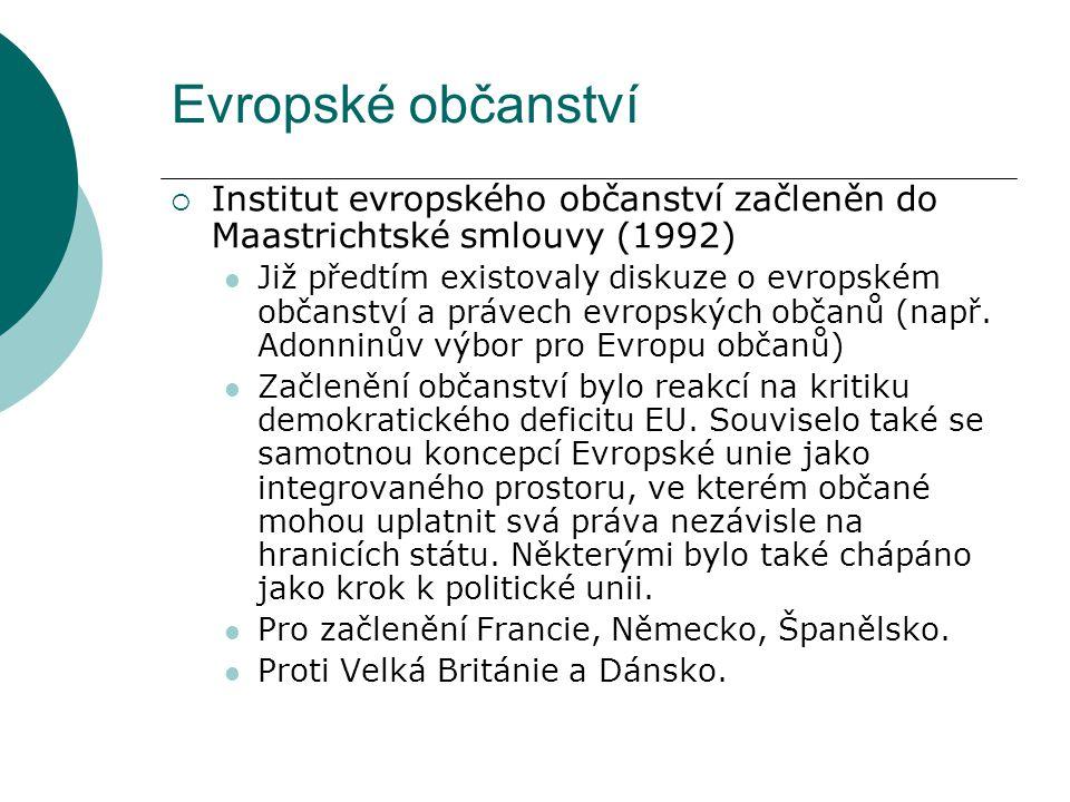 Evropské občanství  Institut evropského občanství začleněn do Maastrichtské smlouvy (1992) Již předtím existovaly diskuze o evropském občanství a právech evropských občanů (např.