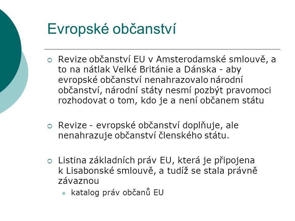 Evropské občanství  Revize občanství EU v Amsterodamské smlouvě, a to na nátlak Velké Británie a Dánska - aby evropské občanství nenahrazovalo národní občanství, národní státy nesmí pozbýt pravomoci rozhodovat o tom, kdo je a není občanem státu  Revize - evropské občanství doplňuje, ale nenahrazuje občanství členského státu.