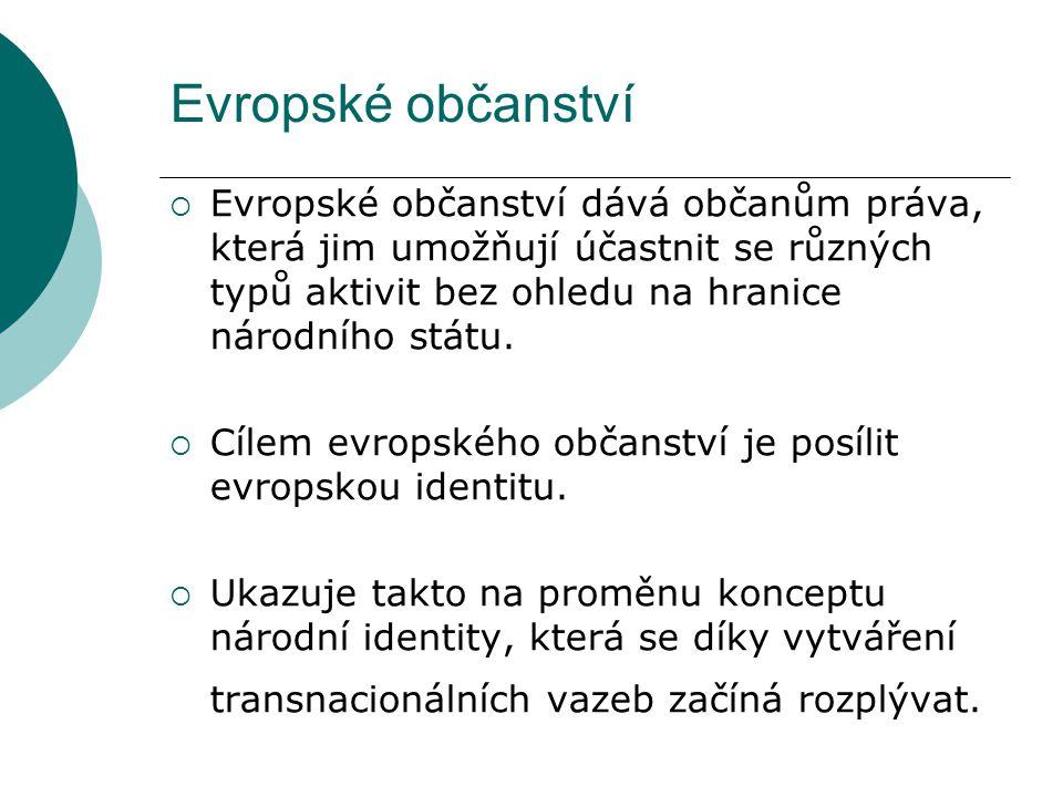 Evropské občanství  Evropské občanství dává občanům práva, která jim umožňují účastnit se různých typů aktivit bez ohledu na hranice národního státu.