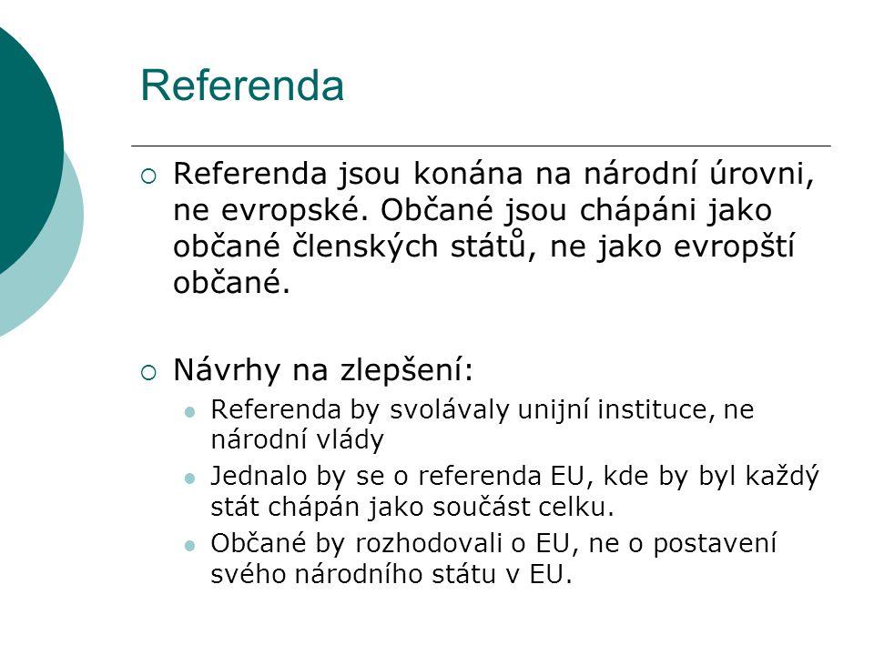 Referenda  Referenda jsou konána na národní úrovni, ne evropské. Občané jsou chápáni jako občané členských států, ne jako evropští občané.  Návrhy n