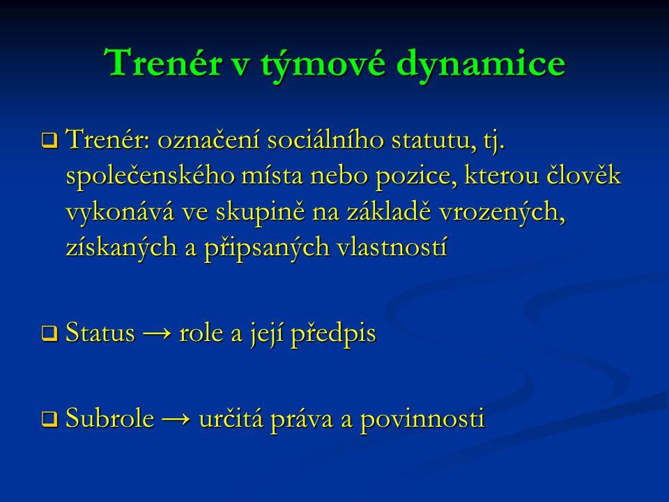 Trenér v týmové dynamice  Trenér: označení sociálního statutu, tj. společenského místa nebo pozice, kterou člověk vykonává ve skupině na základě vroz
