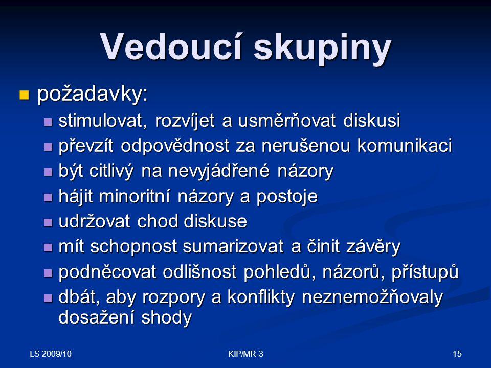 LS 2009/10 15KIP/MR-3 Vedoucí skupiny požadavky: požadavky: stimulovat, rozvíjet a usměrňovat diskusi stimulovat, rozvíjet a usměrňovat diskusi převzí