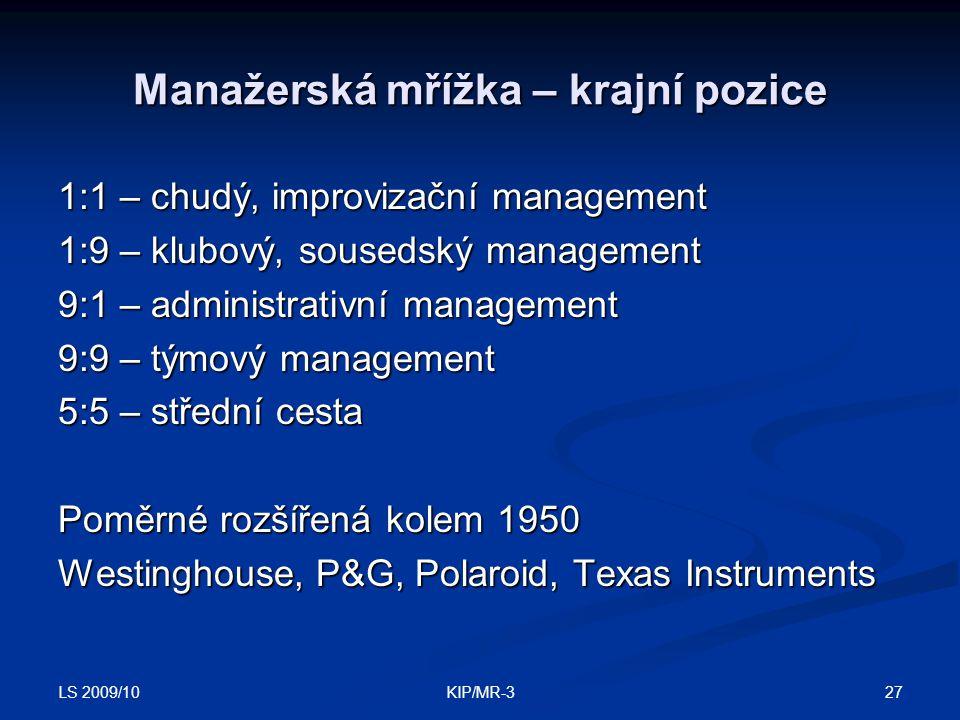 LS 2009/10 27KIP/MR-3 Manažerská mřížka – krajní pozice 1:1 – chudý, improvizační management 1:9 – klubový, sousedský management 9:1 – administrativní management 9:9 – týmový management 5:5 – střední cesta Poměrné rozšířená kolem 1950 Westinghouse, P&G, Polaroid, Texas Instruments