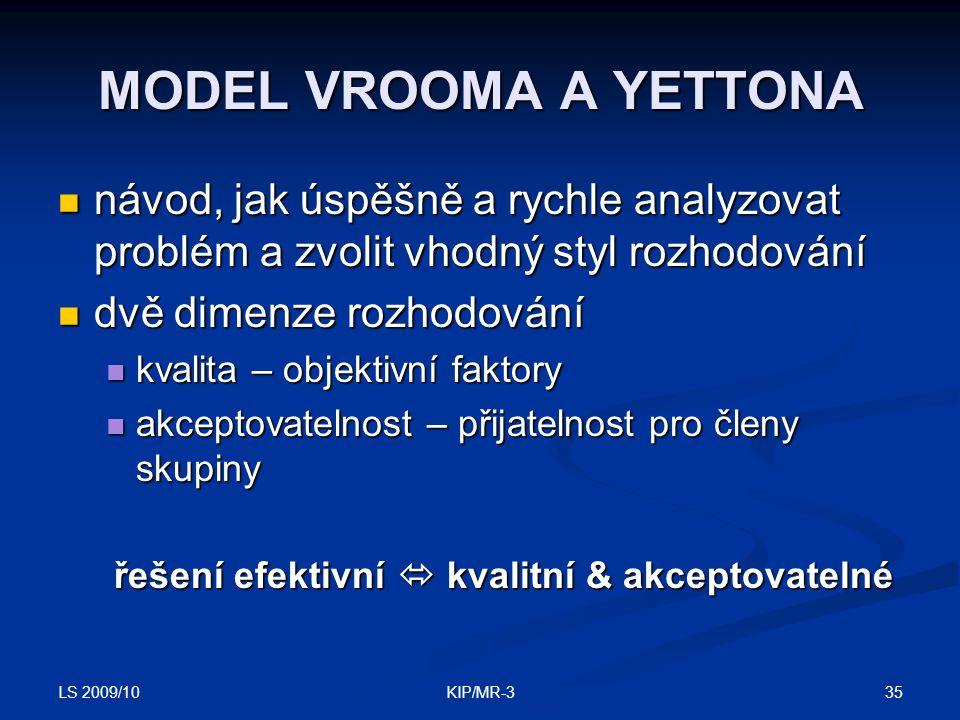 LS 2009/10 35KIP/MR-3 MODEL VROOMA A YETTONA návod, jak úspěšně a rychle analyzovat problém a zvolit vhodný styl rozhodování návod, jak úspěšně a rych