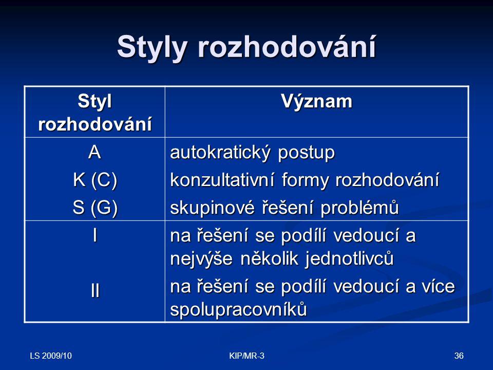LS 2009/10 36KIP/MR-3 Styly rozhodování Styl rozhodování Význam A K (C) S (G) autokratický postup konzultativní formy rozhodování skupinové řešení pro