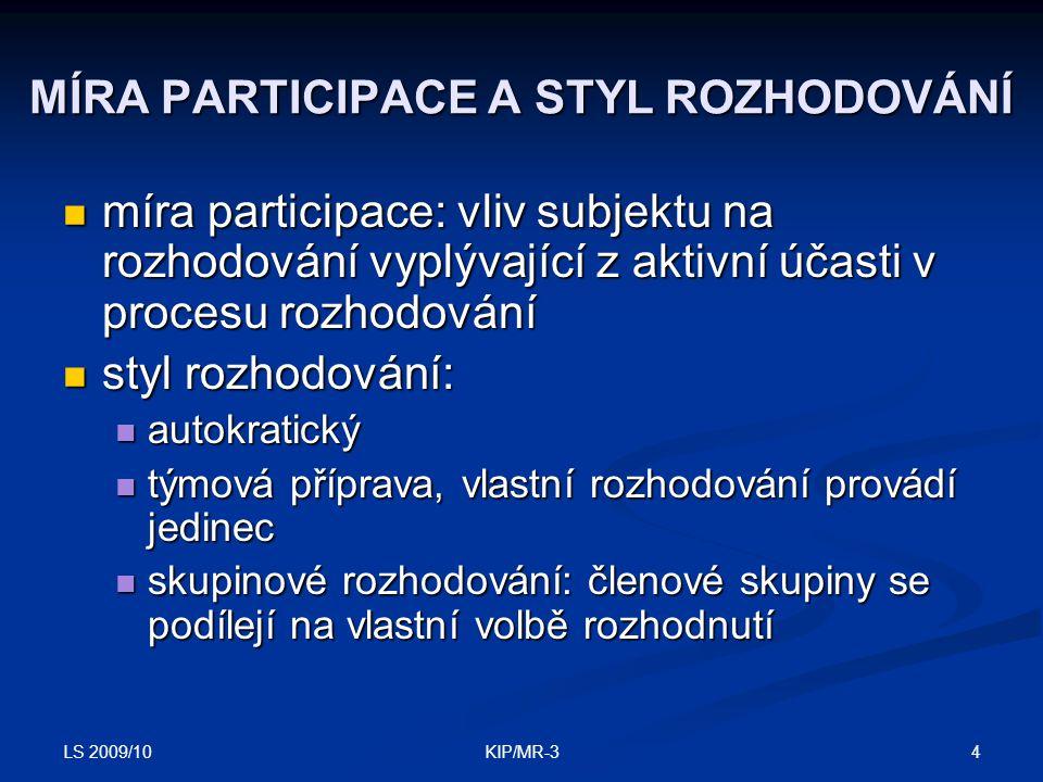LS 2009/10 4KIP/MR-3 MÍRA PARTICIPACE A STYL ROZHODOVÁNÍ míra participace: vliv subjektu na rozhodování vyplývající z aktivní účasti v procesu rozhodo