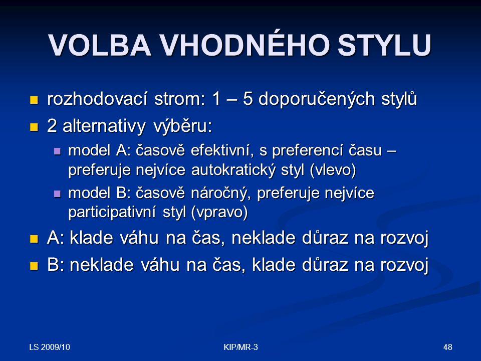 LS 2009/10 48KIP/MR-3 VOLBA VHODNÉHO STYLU rozhodovací strom: 1 – 5 doporučených stylů rozhodovací strom: 1 – 5 doporučených stylů 2 alternativy výběr