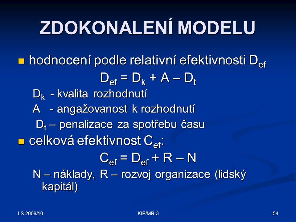 LS 2009/10 54KIP/MR-3 ZDOKONALENÍ MODELU hodnocení podle relativní efektivnosti D ef hodnocení podle relativní efektivnosti D ef D ef = D k + A – D t D k - kvalita rozhodnutí A - angažovanost k rozhodnutí D t – penalizace za spotřebu času D t – penalizace za spotřebu času celková efektivnost C ef : celková efektivnost C ef : C ef = D ef + R – N N – náklady, R – rozvoj organizace (lidský kapitál)