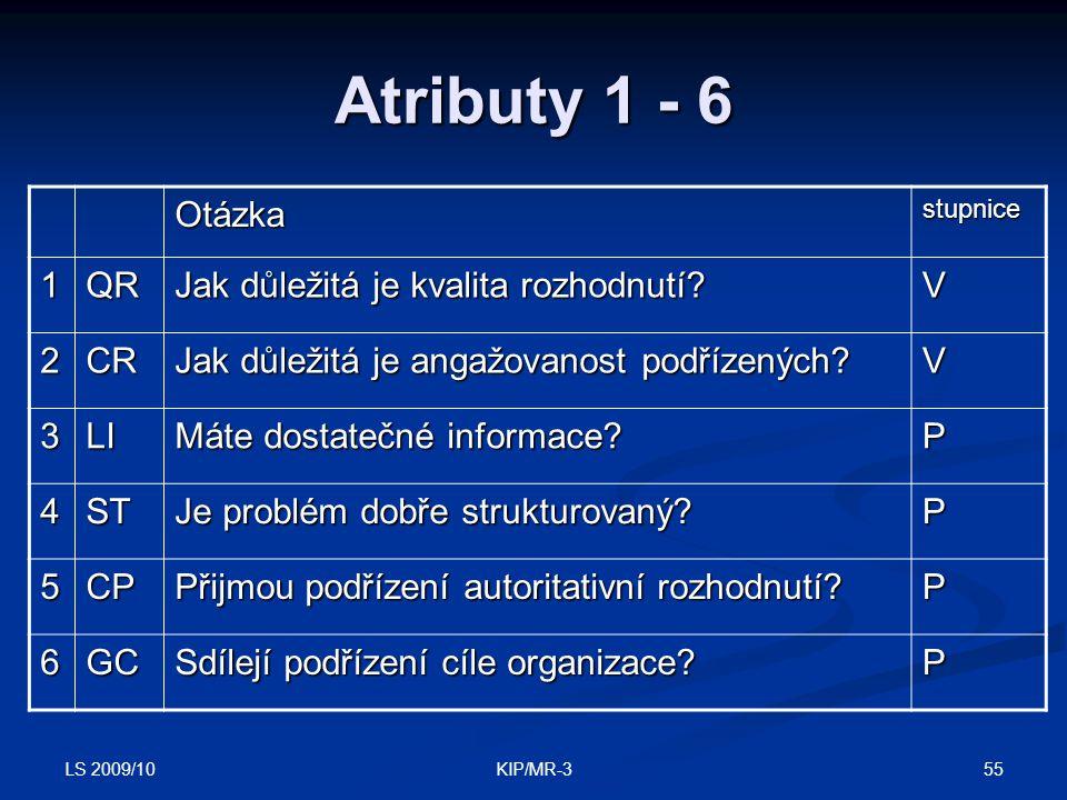 LS 2009/10 55KIP/MR-3 Atributy 1 - 6 Otázkastupnice 1QR Jak důležitá je kvalita rozhodnutí? V 2CR Jak důležitá je angažovanost podřízených? V 3LI Máte