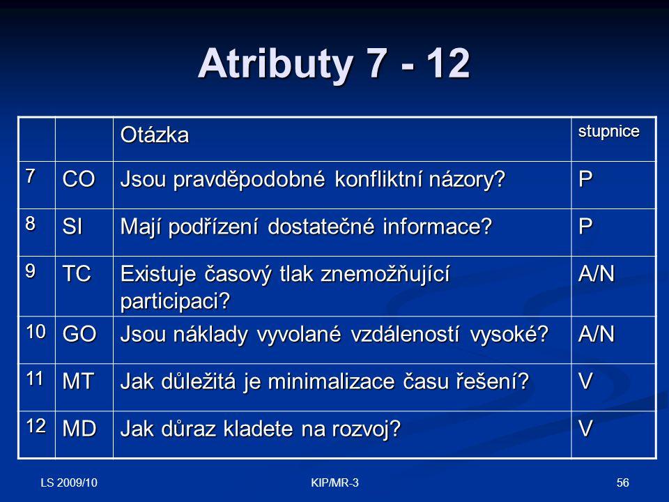 LS 2009/10 56KIP/MR-3 Atributy 7 - 12 Otázkastupnice 7CO Jsou pravděpodobné konfliktní názory? P 8SI Mají podřízení dostatečné informace? P 9TC Existu