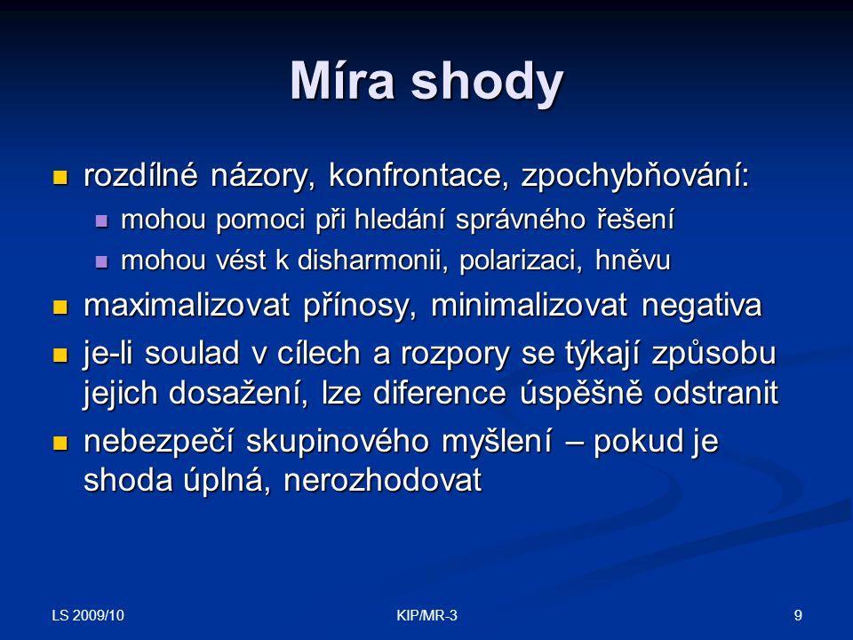 LS 2009/10 9KIP/MR-3 Míra shody rozdílné názory, konfrontace, zpochybňování: rozdílné názory, konfrontace, zpochybňování: mohou pomoci při hledání spr